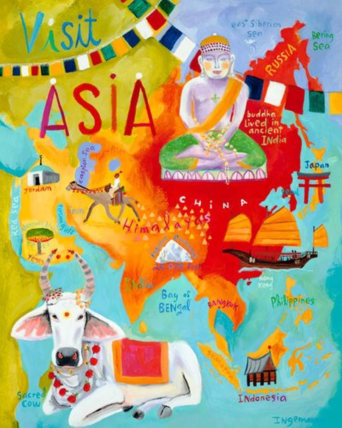 Oopsy Daisy Visit Asia Stretched Canvas Wall Art by women Ingemanson, 24 by 30Inch
