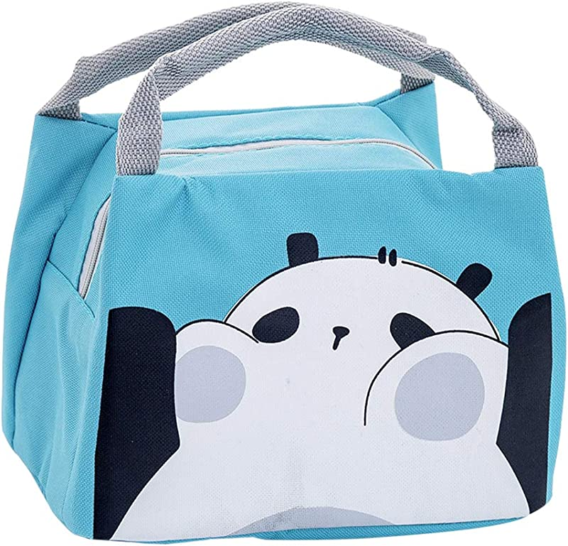 Oyachic Cute Thermal Lunch Bag Insulated Tote Leakproof Zipper Bag With Foil Liner For Office School And Picnic Panda