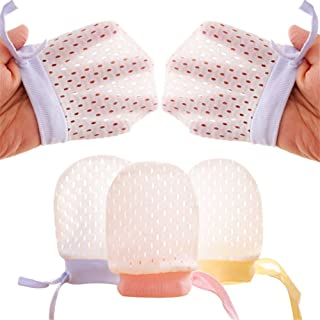 Pack of 3 Baby Mesh Gloves Cotton No Scratch Mittens for Unisex 0-12 Months Newborn Infant