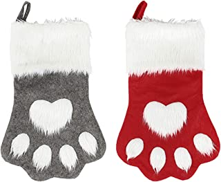 SherryDC Dog Cat Paw Christmas Stockings, Plush Hanging Socks for Holiday and Christmas Decorations (Large/18in, 2-Pack/red+Grey)