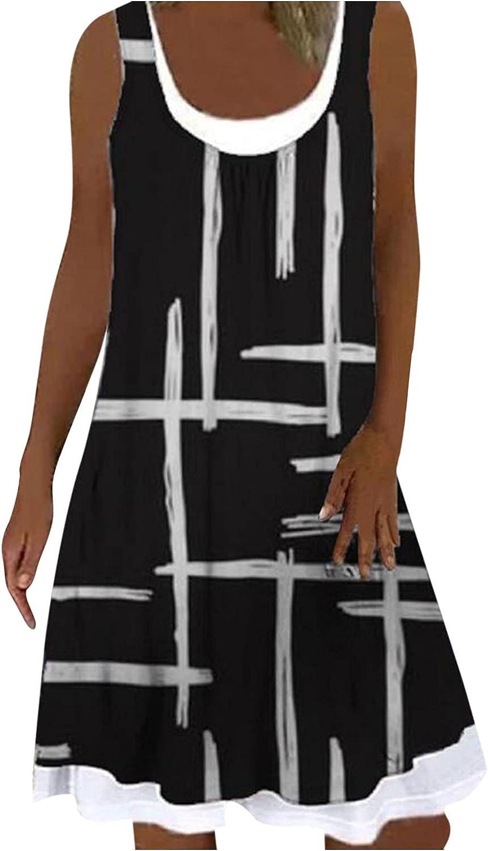Smooto Casual T-Shirt Dress Beach Summer Sleeveless Fake Two-Piece Mini Dress