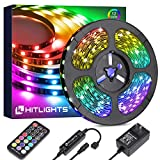 32.8ft LED Strip Lights, HitLights RGB Color Changing LED Tape Lights 5050 300LEDs Flexible Light Strips with RF Remote, UL Power Supply for Room Party TV Bedroom