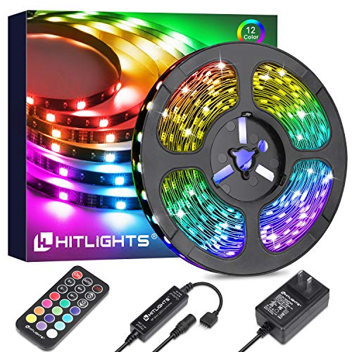 HitLights 16.4FT RGB LED Strip Lights 5050 Color Changing LED Light Strips Kit with Remote Control, Power Supply for Home Room Kirchen Decoration