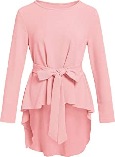 Women's Raw Hem Long Sleeve Belted Flare Peplum Blouse Shirts Top