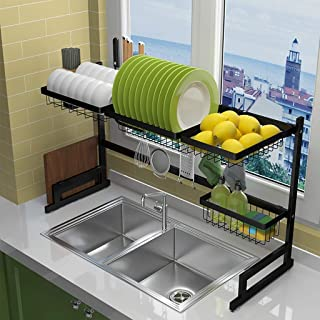 JPL Étagère de rangement de cuisine domestique, sur le support de séchage de plat d'évier, étagère de présentation égoutto...