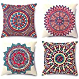 Retro Floral Mandala Bohemian Bohemian Pillow Cases 18x18 Inch Velvet Soft Throw Pillow Covers Couch...