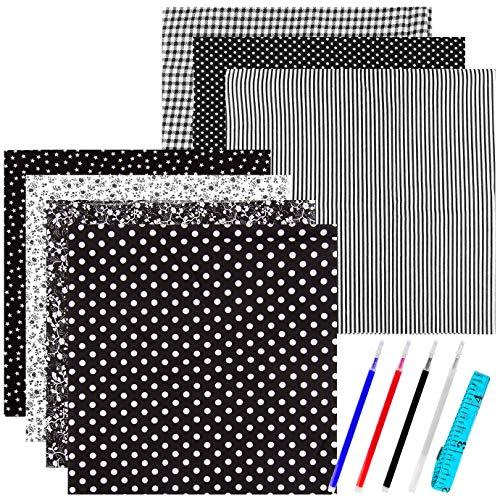 WXJ13 7 Pieces 50 x 50 cm Black Series Cotton Craft Fabric Bundle Patchwork Squares Quilting Sewing Patchwork Different Pattern Cloths DIY Scrapbooking Artcraft