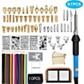 97Pcs Wood Burning Kit, Professional Father's Day Woodburning Tool with Soldering Iron, Creative Tool Set Adjustable Temperature Soldering Pyrography Pen for Embossing Carving Soldering Tips (New)
