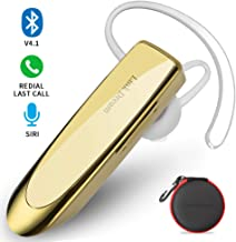 Link Dream Bluetooth Earpiece for Cell Phone Hands Free Wireless Headset Noise Cancelling Mic 24Hrs Talking 1440Hrs Standby Compatible with iPhone Samsung Android for Driver Trucker (Gold)