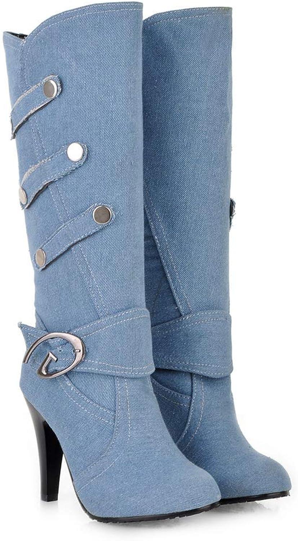 Btrada Women Fashion Knee-High Boot Casusal Denim High Spike Heels Closed Toe Pumps Rubber Office shoes