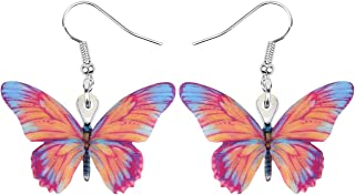 NEWEI Acylic Sweet Butterfly Earrings Drop Dangle Charm Insect Summer Jewelry For Women Girls Gift Charms