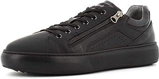 NeroGiardini I001802U Gommato Helsinki Nero Sneakers per Uomo in Pelle Gomma con Lacci Lampo