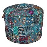 Puf otomano de estilo indio bohemio, puf otomano vintage, puf redondo, puf otomano, puf otomano, cojín de suelo, puf bordado, puf banco, 35,5 x 55,8 cm.