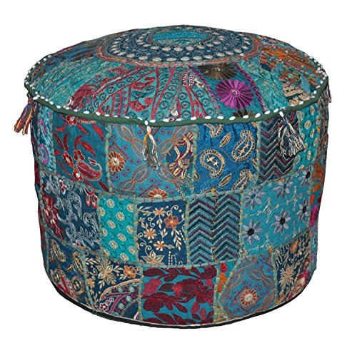 indischen Bohemian Patch Work Pouf Ottomane indischen Vintage Pouf Boden Hocker/Fusshocker, rund Pouf Sitzsack, Boden Kissen osmanischen Pouf, Pouf bestickt Pouf Hocker Bench Stuhl, 35,6 x 55,9 cm