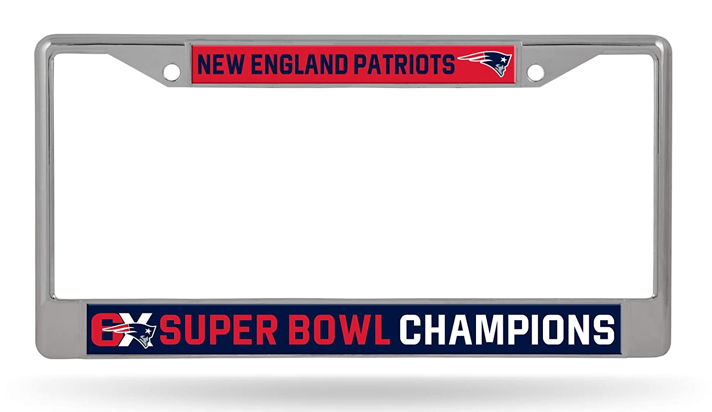 Rico Industries, Inc. New England Patriots 6X Super Bowl Champions Chrome Frame License Plate Cover