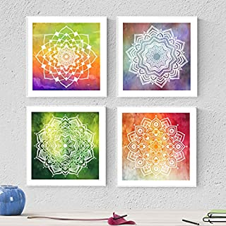 Pack de Lames pour sous-Verre ténacité. Posters carrés avec Images de Mandala. Décoration de Maison. Lame pour sous-Verre....
