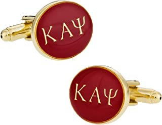 Cuff-Daddy Kappa Alpha Psi Red Gold-Tone Fraternity Cufflinks with Presentation Box