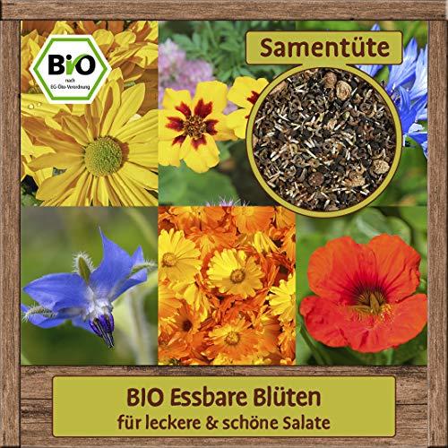 BIO essabe Blütenmischung Blumen Samen Mix für Feinschmecker Blumenmischung für Salate Kornblume Borretsch Ringelblume Tagetes Chrysanthemen