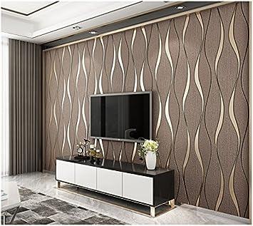 Yosot Moderne 10D Relief Kurven Streifen Tapete Tv Hintergrund Wohnzimmer  Vliestapeten Braun