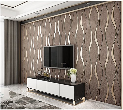 Yosot Modern 3D Relief Curves Stripes Wallpaper Tv Background Living Room Non-Woven Wallpaper Brown