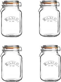Kilner 0025.543A Clip Top Jar, Glass - Pack of 4