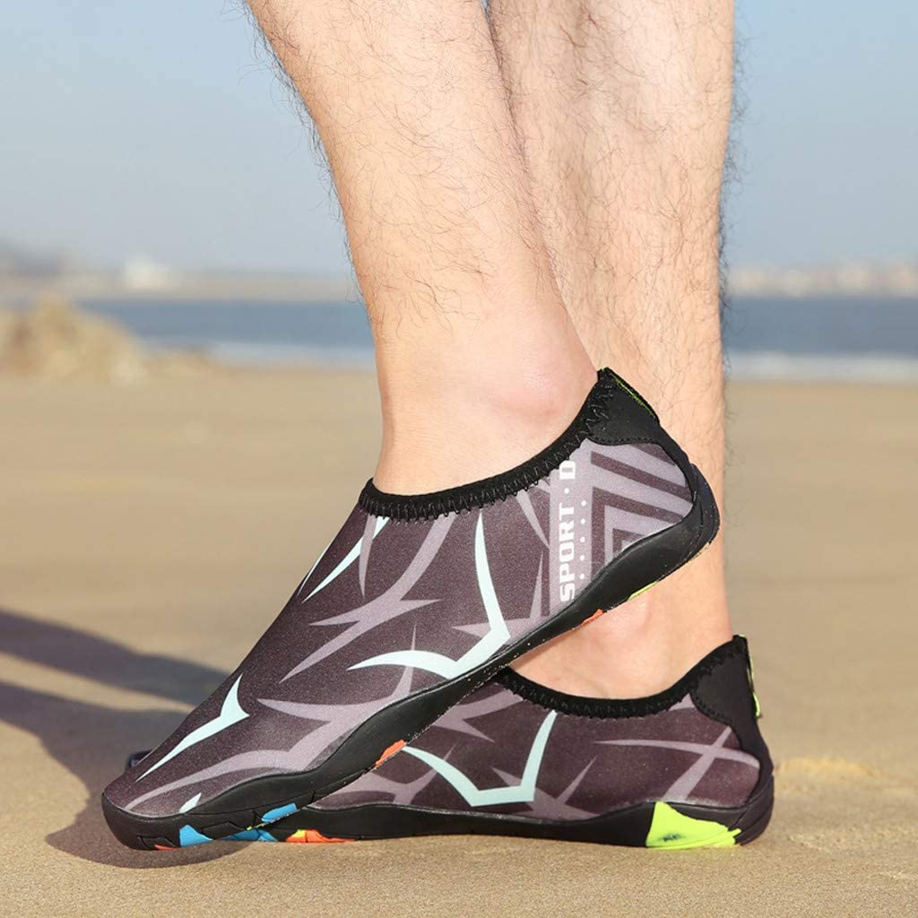 Bosue Cover Heel Water Shoes,Flat Beach Shoes Barefoot Quick Dry Lightweight Slip-On Swim Water Shoes for Dance Walking Yoga Lake Park Driving Boating Unisex Sports Aqua Shoes