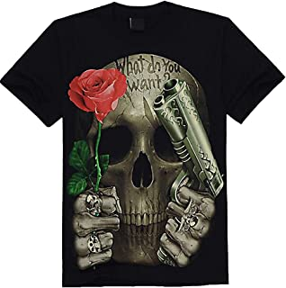 Rock-Style Men's 3D Printed T-Shirt, Image Gun and Rose 7A8