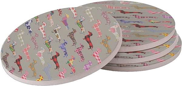 Floral Daschund Dog Sandstone Drink Coaster Set Of 4 Coasters