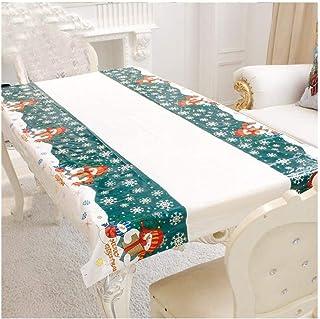 PULABO Nappe de Noël rectangulaire en PVC jetable 110 180 cm pour décoration de Noël Vert durable et pratique