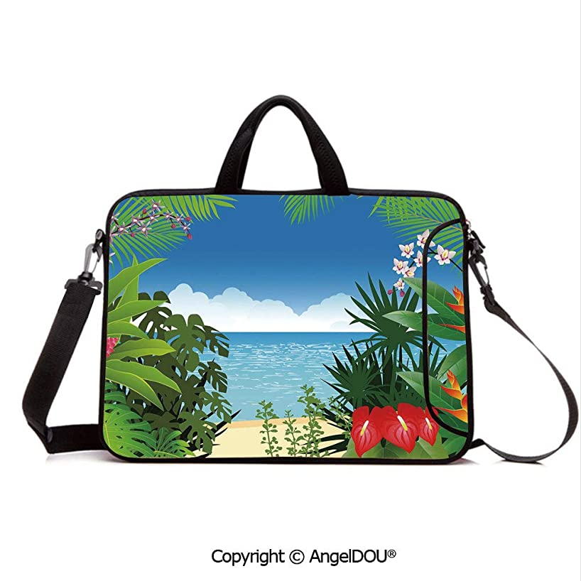 AngelDOU Notebook Bag for School Laptop Sleeve Messenger Bags Beach Theme Island Jungle Sea Shore Ocean View with Side Flowers Crepe Gingers P PC Cover case Compatible with mac pro/asus/acer/hp/xia