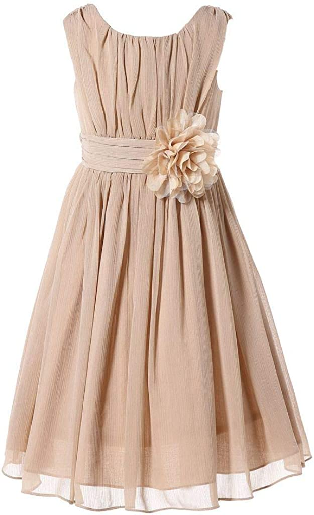 Bow Dream Junior Bridesmaids Max 74% online shop OFF Little Elegant Girls Ruffle Chiffon