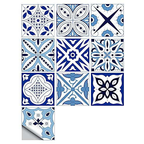 Pegatinas para azulejos de estilo europeo, impermeables, autoadhesivas, retro, cuadradas, para decoración de muebles de cocina, baño, 10 cm x 10 cm x 10 unidades