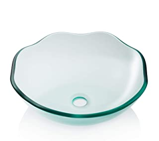 Miligore Modern Glass Vessel Sink - Above Counter Bathroom Vanity Basin Bowl - Scalloped Clear