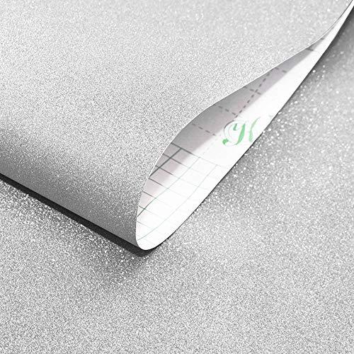 Selbstklebende Glitzer Tapeten TV Hintergrund Funkelnd Wandaufkleber Wohnzimmer Glitzer Tapete Möbelsticker, 45 × 600cm,Silber