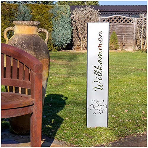 teileplus24 GS01 Willkommen Gartenstecker Gartenschild | Edelrost Garten Deko |3D Abkantung | 120cm x 21cm, Design:HerzHimmel
