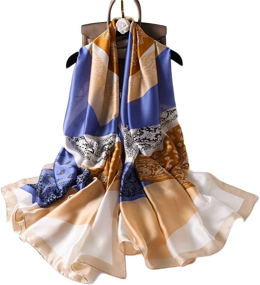 WCN Cálida Shaw Satin SIQUE SIQUE Lucho LIGHTWEY Bufanda de la Moda para Las Mujeres Lightweight Birds Floral Imprime Bufandas de algodón, para Vacaciones (70