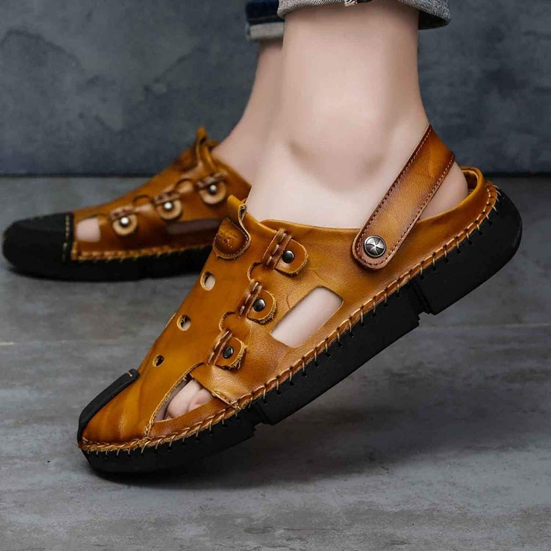 Casual Leather schuhe_New Men's Summer Herrenschuhe Casual Lederschuhe Baotou Sandals Beach Rot Braun_42