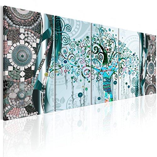 murando Quadro 200x80 cm Stampa su tela in TNT XXL Immagini moderni Murale Fotografia Grafica Decorazione da parete 5 pezzi Bosco Foresta Natura Panorama Albero Astratto Klimt l-A-0006-b-o