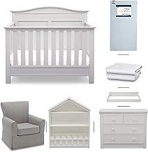 Delta Children Serta Barrett 7-Piece Nursery Furniture Set - Convertible Crib, Dresser, Changing Top, Bookcase, Crib Mattress, Glider, Crib Sheets - Bianca White