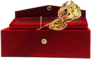 وردة طبيعية مغطسة بالذهب 24 قيراط مع صندوق قلب من باي كرافت، افضل هدية لعيد الحب وعيد الام والذكرى السنوية واعياد الميلاد