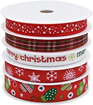 Gukasxi 5 Rolls Christmas Ribbon Fabric Grosgrain Ribbon Wired Craft Ribbon for Christmas Holiday, Gift Wrapping, Hair Bow...