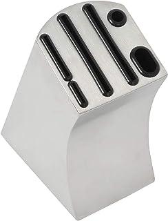 NiceDD - Bloque universal para cuchillos y cuchillos de acero inoxidable, 6 ranuras con almohadilla antideslizante y salida de agua