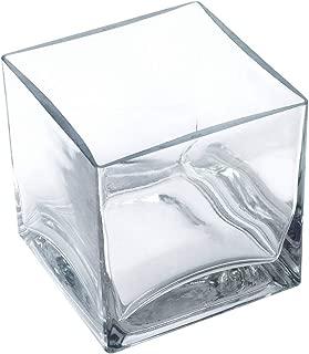 """12 Piece Set Square Glass Vase 4"""" H x 4"""" W x 4"""" L Clear Cube Centerpiece Votive Candle-Holder"""