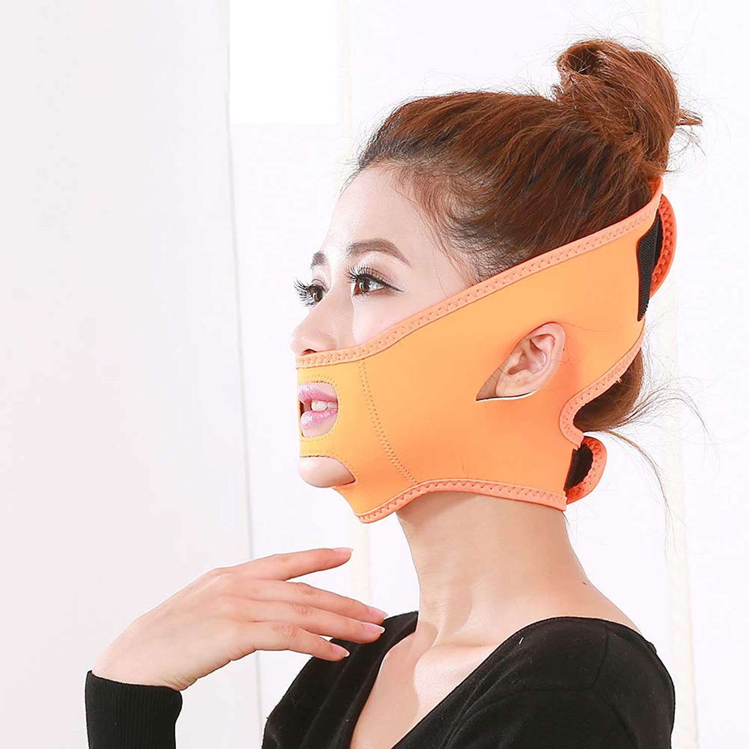 追加する電信例示する顔の減量フェイスマスクマスク強力な顔バンド薄い二重あご薄い顔包帯ユニセックス,Orange