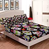 Homewish Sugar Skull Bedding Set Gothic Fitted Sheet Set Halloween Room Decorative Bed Cover for Kids Boys Girls Teens (1 Fitted Sheet 1 Pillow Case),Twin Size