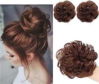 AISI QUEENS 100% Human Hair Bun Extensions 2PCS Curly Wavy Messy Bun Hair Extension Scrunchies Elegant Chignons Wedding Hair Piece for Women and Kids(Color:4# Medium Brown)