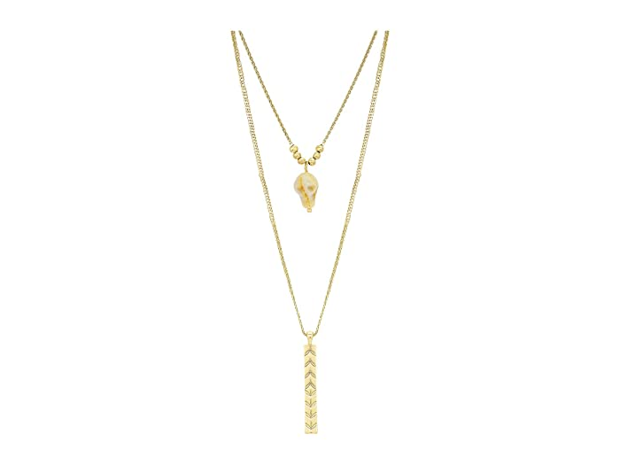 Lucky Brand  White Agate Layer Skull Necklace (Gold) Necklace