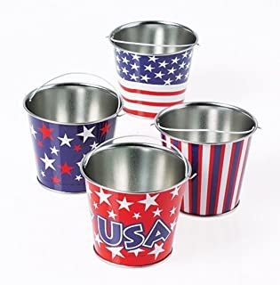 GIFTEXPRESS 1 Dozen Mini Patriotic Metal Buckets Patriotic Party Favor, 4th of July Goody Buckets for patriotic decorations and party supplies