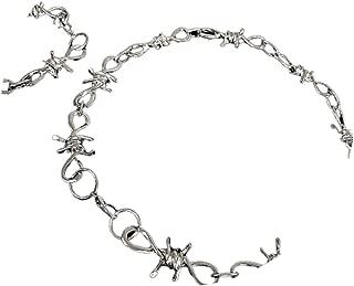 Hip Hop Punk Flame Thorns Brambles Bracelet Necklace Set Jewelry Unisex Men Barbed Wire Brambles Necklace Bracelet Wrap Chains