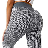 MOSHENGQI Women's Ruched Butt Lifting High Waist Yoga Pants Tummy Control Stretchy Workout Leggings Textured Booty Tights(Large,#1 Grey)